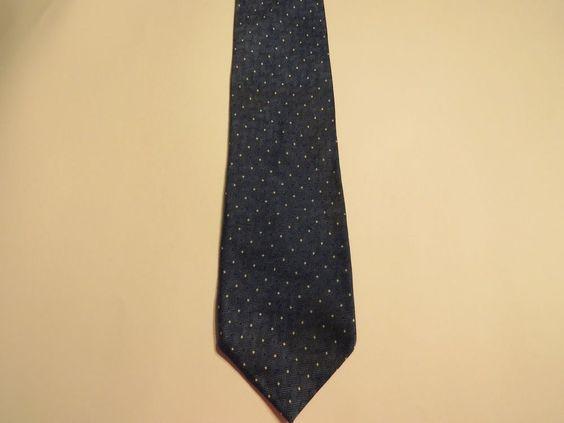 Geoffrey Beene 100% Silk Men's Tie Blue W/ Small White Polka Dots Free Shipping