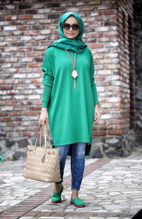 Casual party look with green hijab