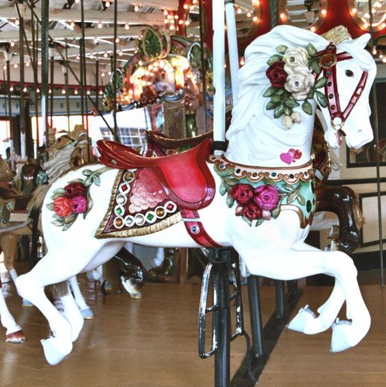 """Here's a Carmel horse that might be the model for the """"Carousel Magic"""" Cover art. Rye Playland Carmel. Carmel Outside Row Jumper © John Caruso"""