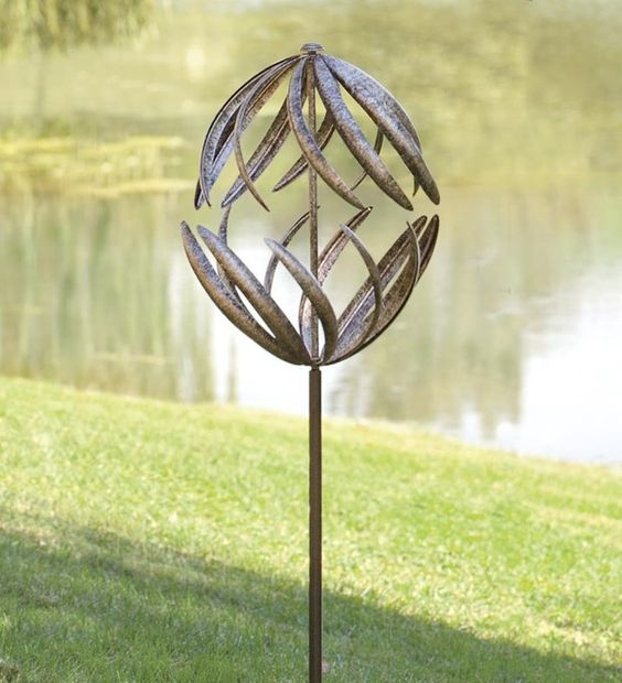 Hammered metal double garden spinner my garden for Outdoor wind spinners