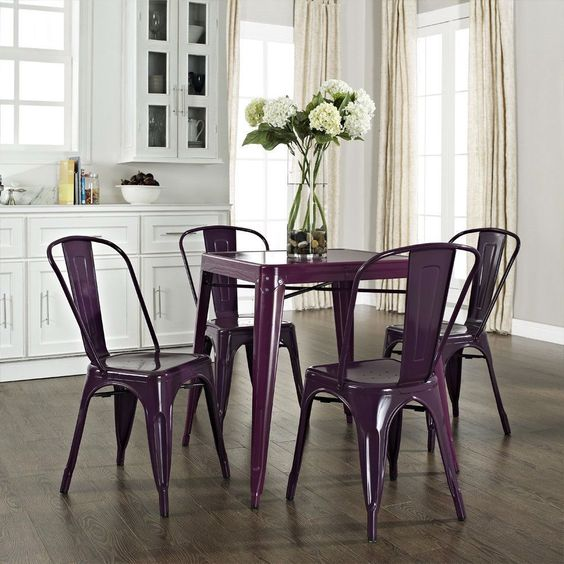 century french cafe style powder-coated steel dining table in purple