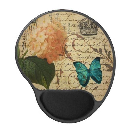 vintage girly Hydrangea butterfly swirls scripts Gel Mouse Pad