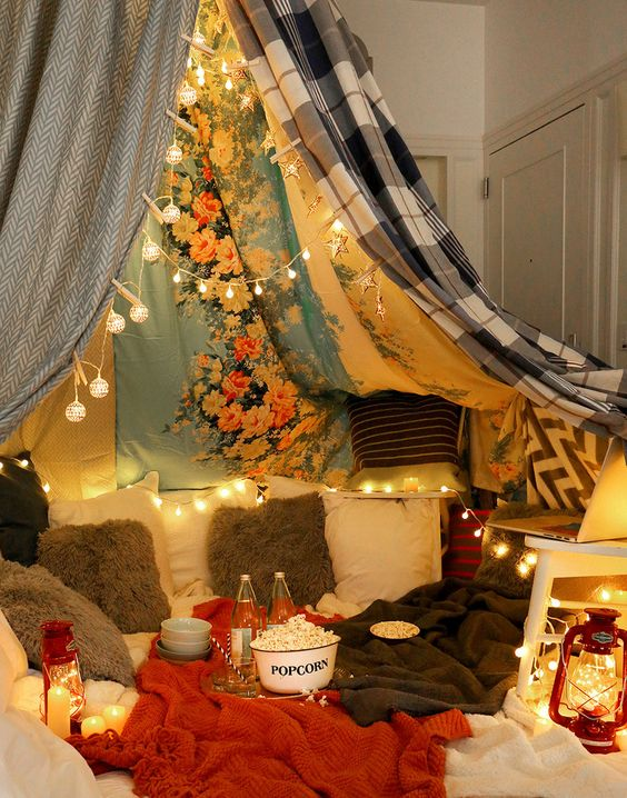 Movie night is awesome. Movie night in a blanket fort is ridiculously awesome. Add SkinnyPop Popcorn for an even better time.: