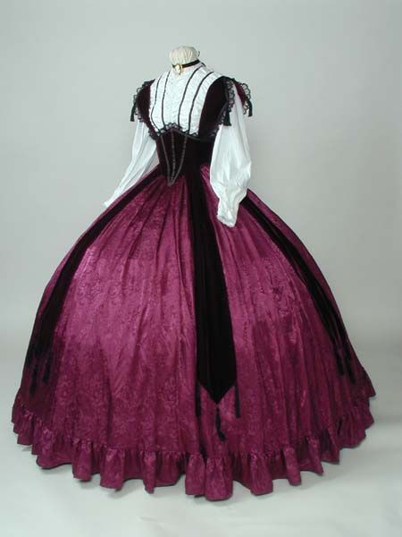 1864 day dress costume, white cotton bodice w/ wine vevet bretelle corselet over a jacquard skirt, crinoline underneath, design from Godey's  created by Lori at:  http://www.knowlesville.com: