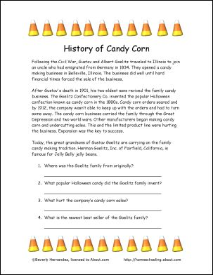 History of Candy Corn | Candy Corn, Worksheets and History