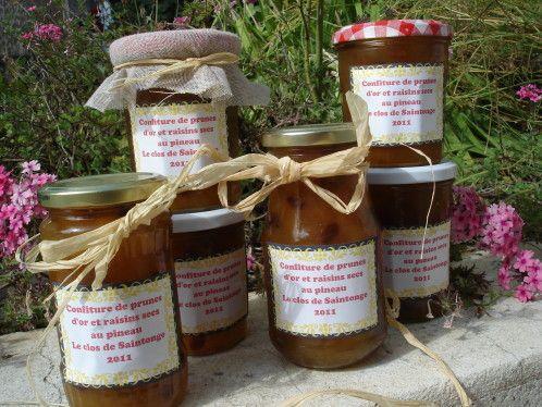 Confiture de prunes d'or et raisins secs au pineau des charentes