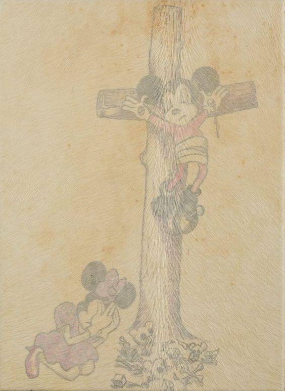 Wim Delvoye, Mickey et Minnie (2005) Tatuato maiale pelle Stima: 20 000-30 000…