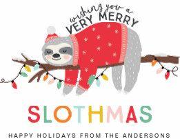 Sloth Christmas Holiday Card Card Christmas Sloth Sloth Sloth Drawing