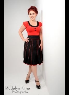 Trumpet Skirt in Black with Red Piping