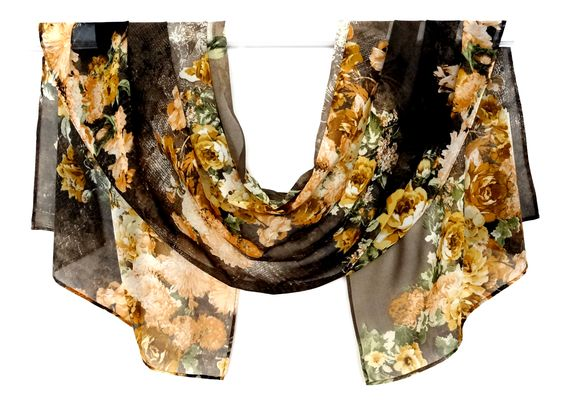 "scarf silk chiffon 56 ""x 19"" women's fashion accessories, exotic combination of brown, yellow, green fantastic flowers.   $12,00 USD"
