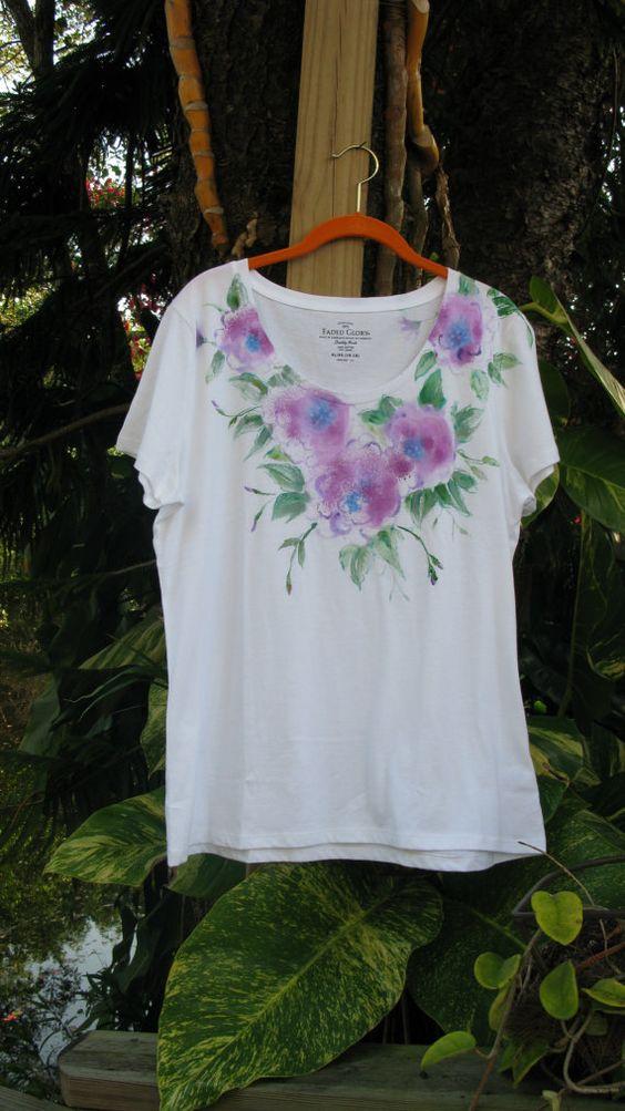 Handpainted Blue Floral Scoop Neck Cotten T-Shirt XL/XG (16-20)