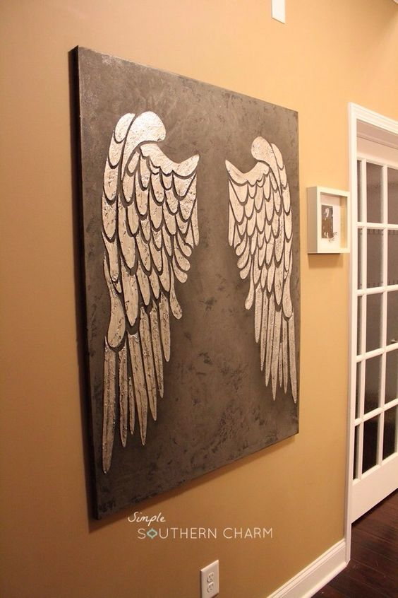 Angel Wings Stencil with silver leaf on Canvas | Simple Southern Charm: