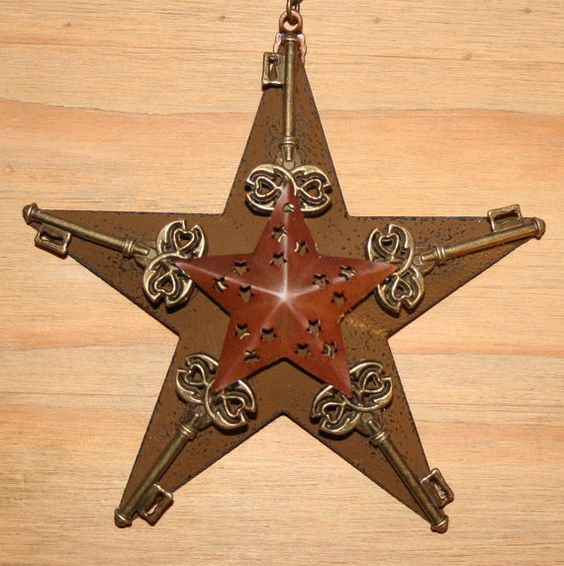 Items Similar To Vintage Santa S Workbench Dickens Choir: Star With Skeleton Keys Ornament
