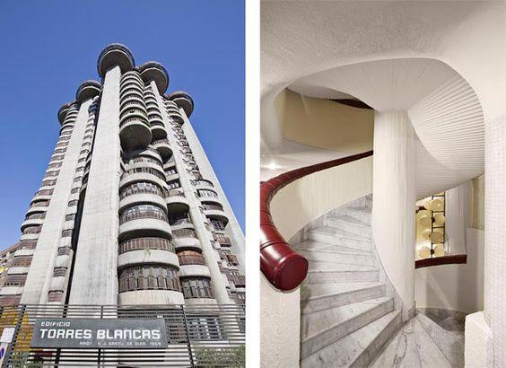 Edificio Torres Blancas, de F. J. Sáenz de Oiza (1969) y su espléndida escalera en espiral. @ Manolo Yllera
