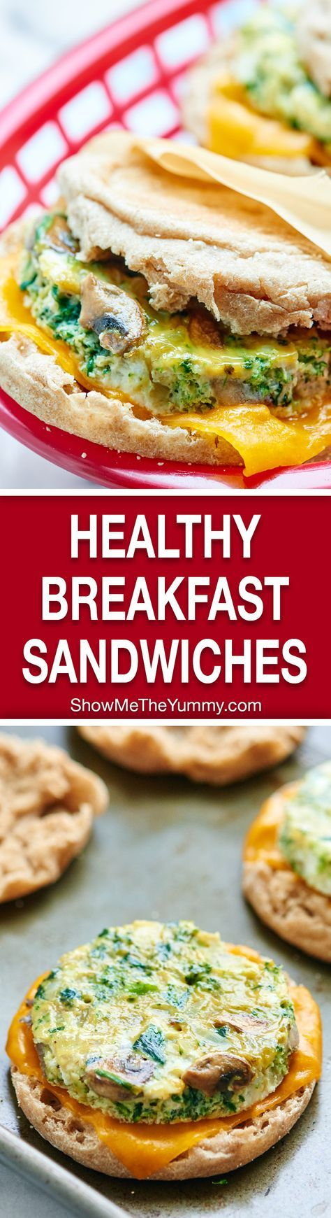 A healthy breakfast sandwich made of eggs, veggies, & optional turkey & cheese! Make these the day of or make them in advance & store in the freezer! showmetheyummy.com #healthy #breakfast