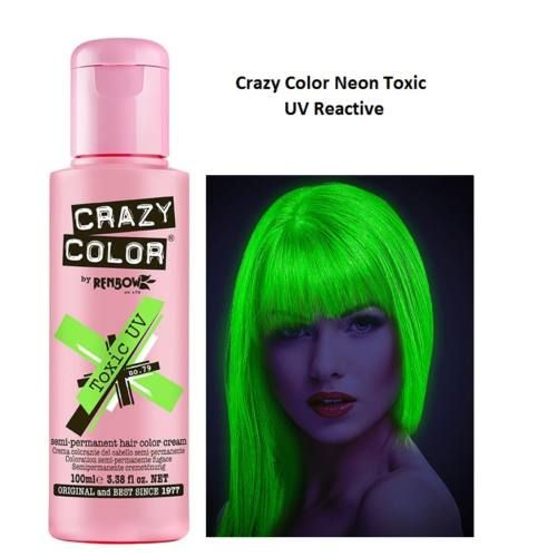 Crazy Colors In Toxic Uv Crazy Colour Green Hair Hair Color