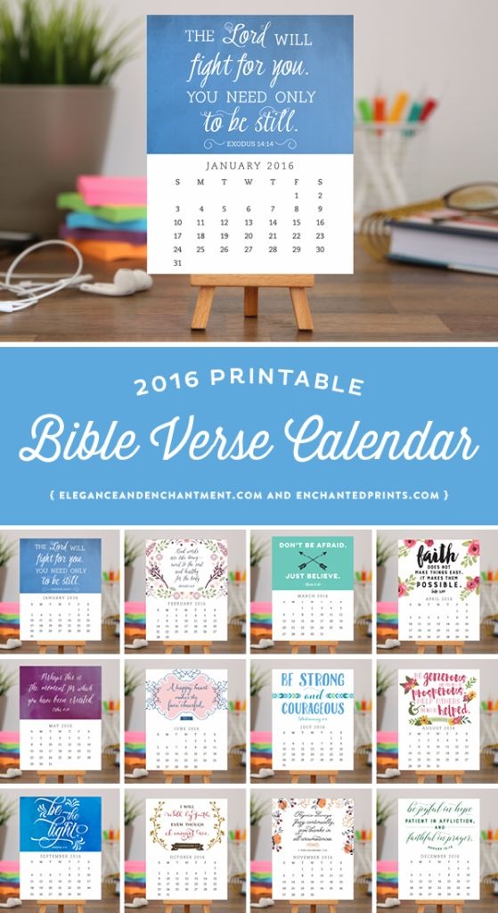 Calendar Photo Ideas For Each Month : Bible verse desk calendar available in printable or