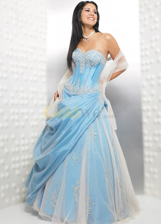 [US$205.99] Vintage Ball Gown Strapless Sweetheart Applique Beading Satin Organza Prom Dress