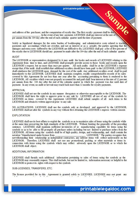 Printable trademark license agreement Template PRINTABLE LEGAL - non compete agreement template