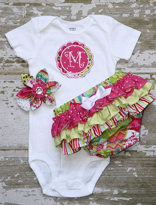 Patchwork hot pink dots, lime green, and striped ruffle bottom bloomers and fabric flower headband and Applique Onesie short or long sleeve