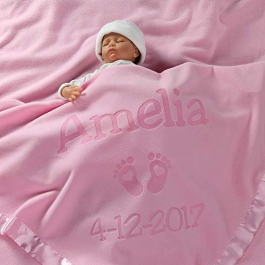 Plush Minky with Heart Design Pink Customized Baby Blanket berry bebe Personalized Baby Blankets for Baby Girl