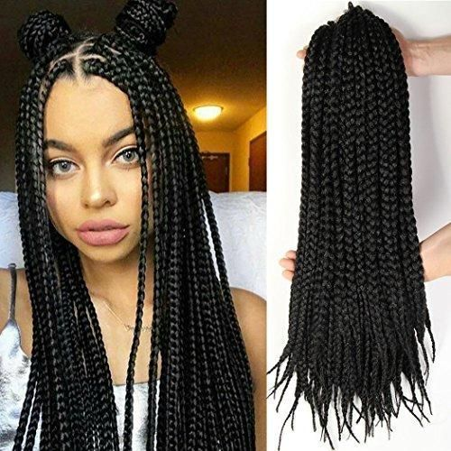 Box Braid Style Crochet Hair 18 Inch 6 Packs Black Color Synthetic