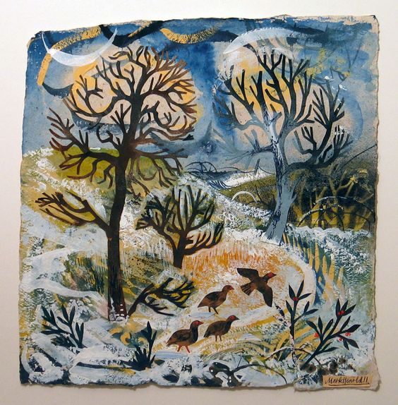 Mark Hearld. December Morning, collage, image size 35 x 37 cm: