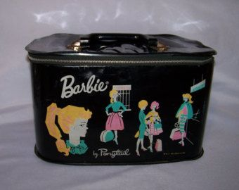 1962 Mattel Barbie Ponytail Pony Tail Black Travel Carry Make Up Case