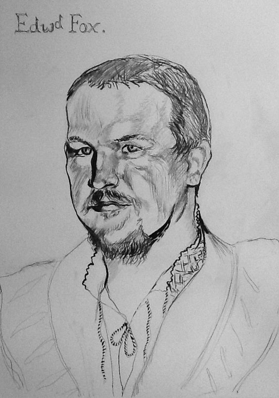Portrait sketch of a 16th century reenactor drawn in graphite and ink in the style of Holbein.