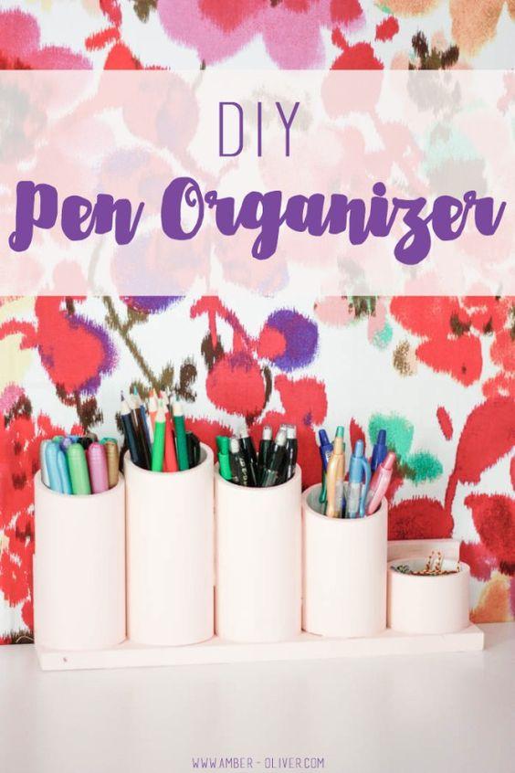 DIY Pen Organizer - custom desktop organization using PVC pipe!  #PilotYourLife #CollectiveBias #AD