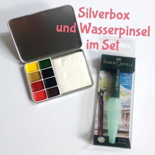 Silverbox Im Set Mit Faber Castell Wasserpinsel Wasserfarben