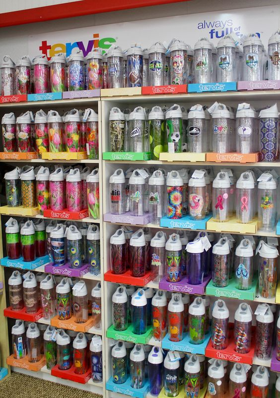 MustDo.com | Turn your Tervis tumbler into a reusable water bottle with a clever water bottle lid. Tervis factory store in Osprey, (Sarasota) Florida.