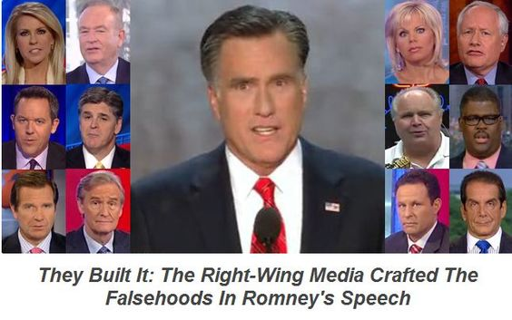 The right-wing media crafted the false claims in Mitt Romney's speech.