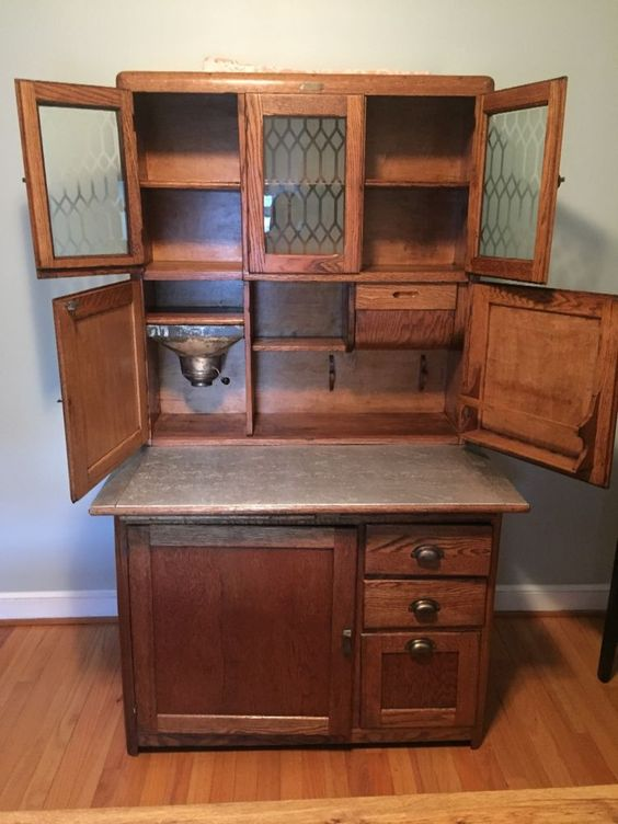 Hoosier Bakers Cabinet #EarlyColonial #AntiqueOakHoosierBakerscabinet