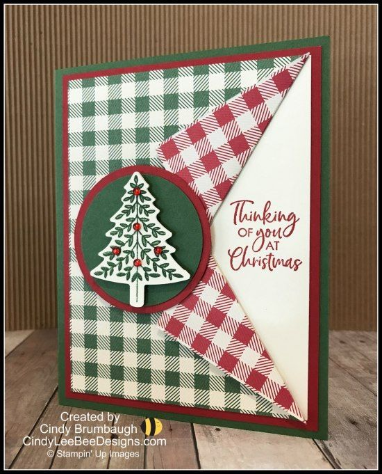 Bundle Card Collar Perfectly Plaid Punch Stampin Tutorial Video Christmas Cards To Make Christmas Tree Cards Diy Christmas Cards