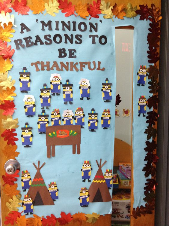 Mrs b 39 s thankful minions door classroom bulletin board for Thanksgiving decorations ideas for office