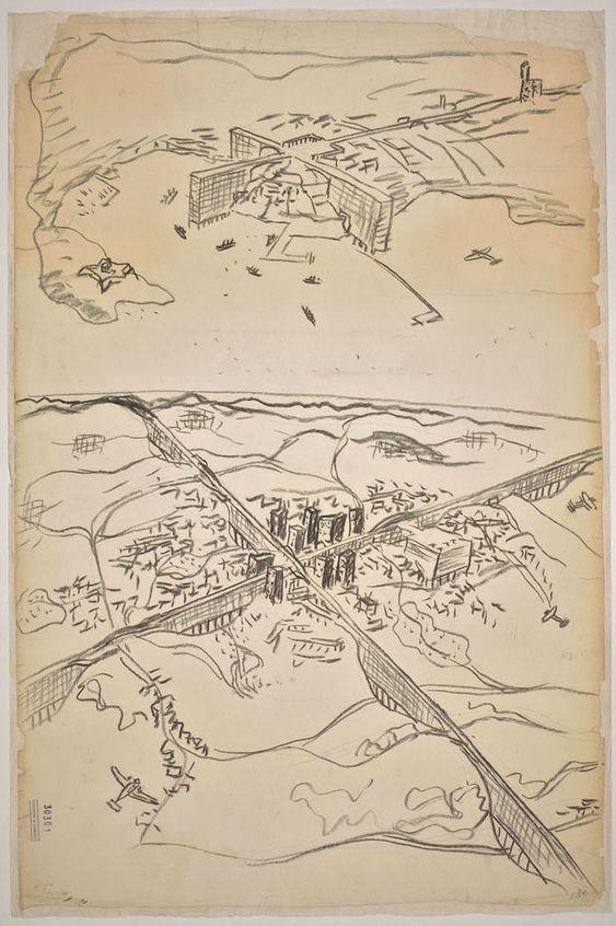 2 proyectos de Le Corbusier en la misma hoja, año 1929. Para Montevideo arriba y para la ciudad de San Pablo abajo.