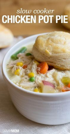 DONE!!! - This is really good for a lighter and healthier version of a slow cooker chicken pot pie. It is great served with your favourite biscuit (we did an easy cheese biscuit).
