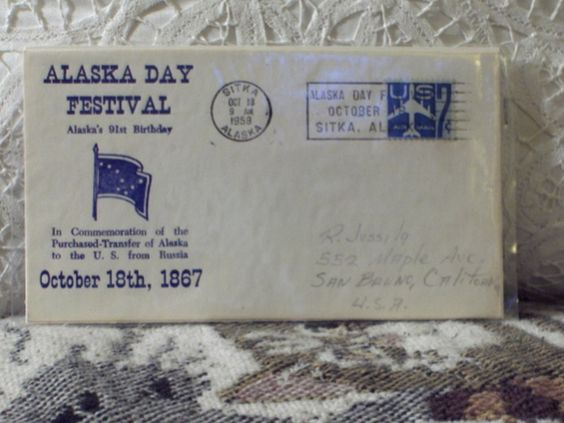 http://ajunkeeshoppe.blogspot.com/  First Day Issue/Cover-Stamp-Alaska Day Festival-1958 7c 8ozP724B4HP1176
