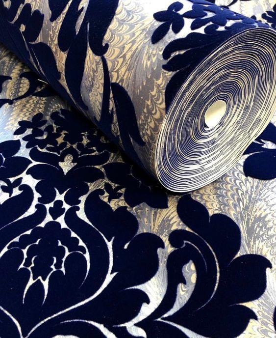 Faversham Flock Navy Blue Flock Wallpaper Navy Wallpaper Velvet Wallpaper