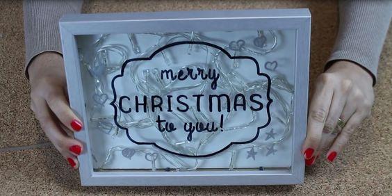 DIY de Natal para decorar a sua casa com um quadro iluminado com pisca pisca. Merry Christmas to you :D