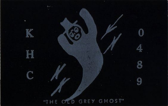'Old Grey Ghost' card. From private collection of CB radio QSL cards of the 60s, 70s and 80s. QSL cards were personalized postcards that were used as a record of contact between CB radio operators.