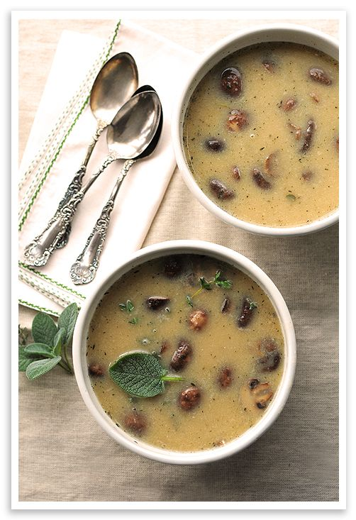 Roasted Mushroom Soup with White Beans