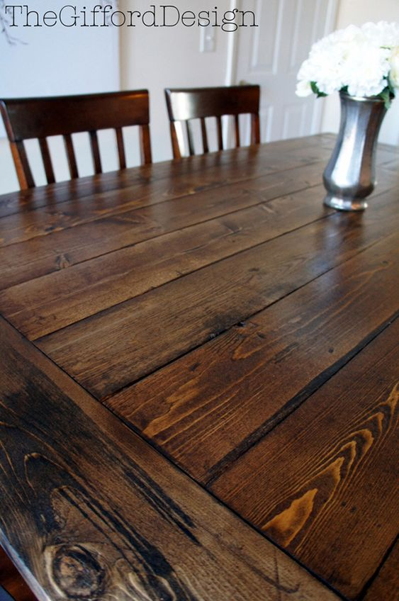 DIY Farmhouse Table with a beautiful chestnut stain Great Tutorial
