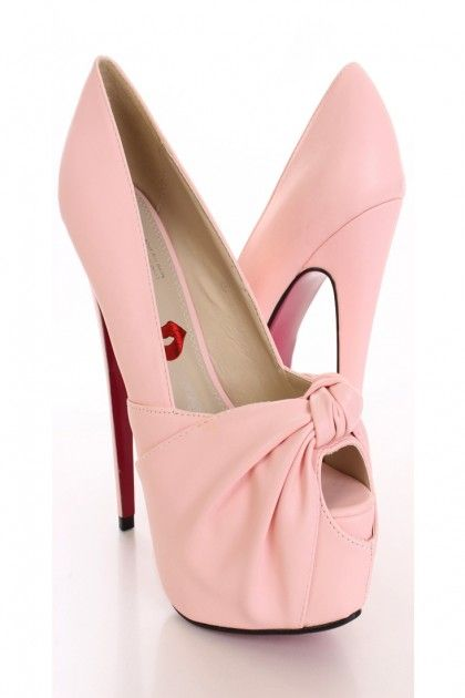Light Pink Knotted Keyhole Toe Pump Heels @ Amiclubwear Heel Shoes