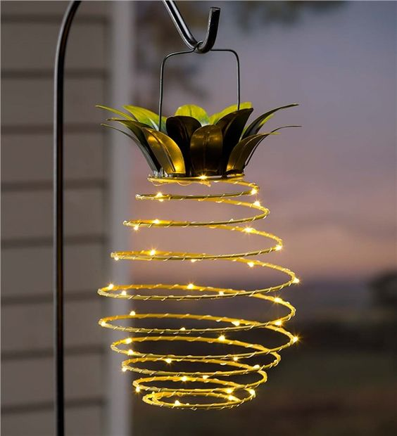 Hanging Solar Lantern Decoration, Pineapple: