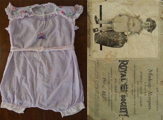 SWELL ViNTAGE ANTiQUE 1910's PURPLE CHECK LAWN ROMPER & PATTERN ENVELOPE TODDLER