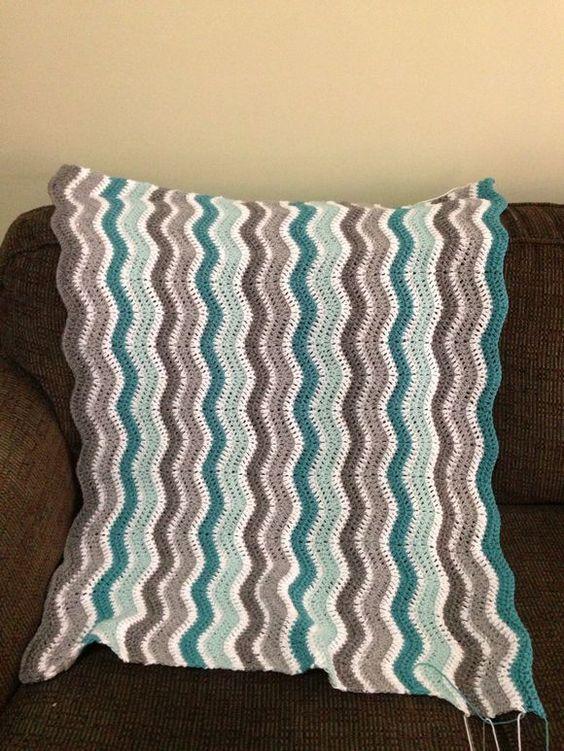 Love these colours! Ripple blanket update #crochet #blanket #ripple ...