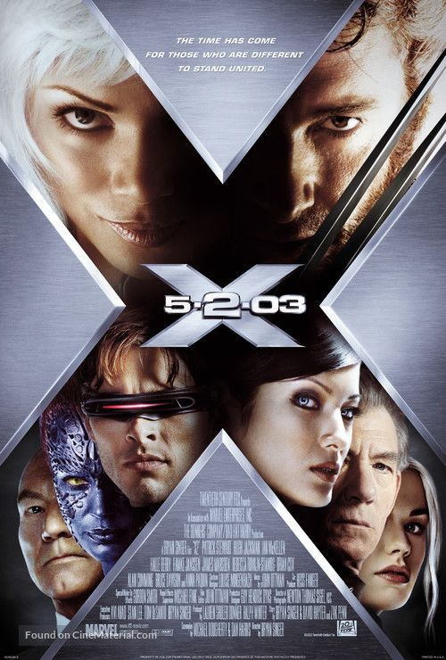 X2 2003 Movie Poster X Men Xmen Movie Man Movies