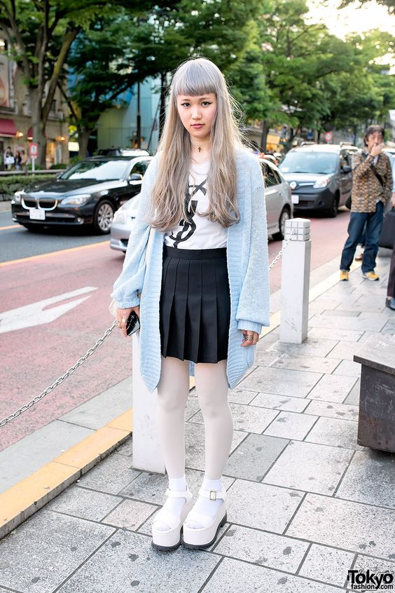 """tokyo-fashion: """" 19-year-old Maiko on Omotesando Dori in Harajuku wearing an oversized resale sweater with a resale YSL top, an American Apparel pleated skirt, and LDS platform sandals. """""""
